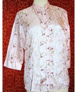 CLAUDIA RICHARD pink floral polyester 3/4 sleeve button blouse M (T43-04... - $7.90