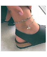Olbye Whale Tail Anklet Bracelet Silver Layered Ankle Bracelet Mermaid F... - $7.55