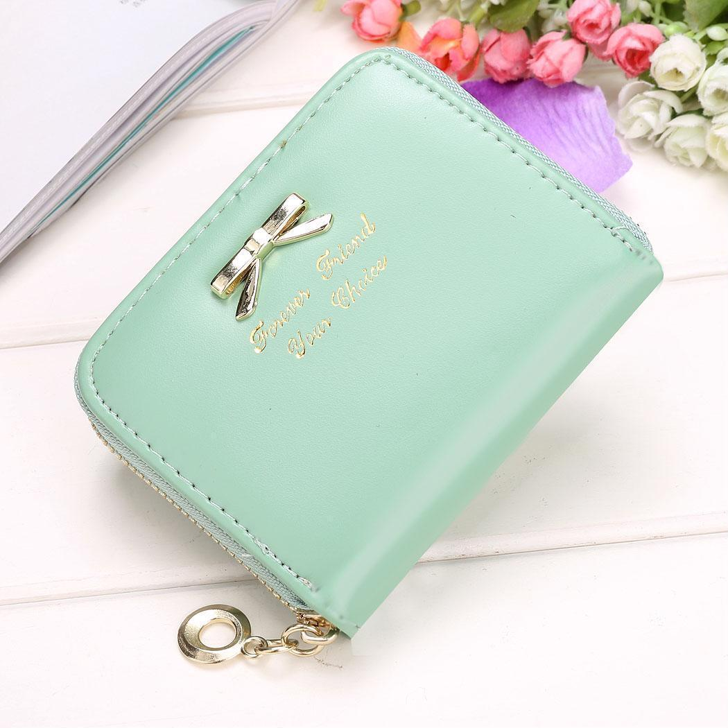 Women Leather Wallet Zipper Coin Purse Small Purse Casual ID Card Zip Holder Bag