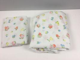 Vtg St Marys Sheet Set 1 Flat 1 Pillowcase Floral No Iron Muslin USA 81x... - $19.40