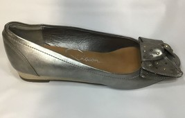 Jessica Simpson Metallic Silver Shoes Size 5 Big Bow Slight Wedge Heel O... - $14.74