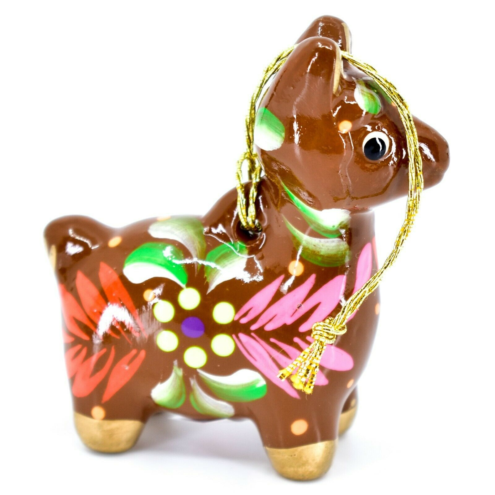 Handcrafted Painted Ceramic Brown Llama Confetti Ornament Made in Peru