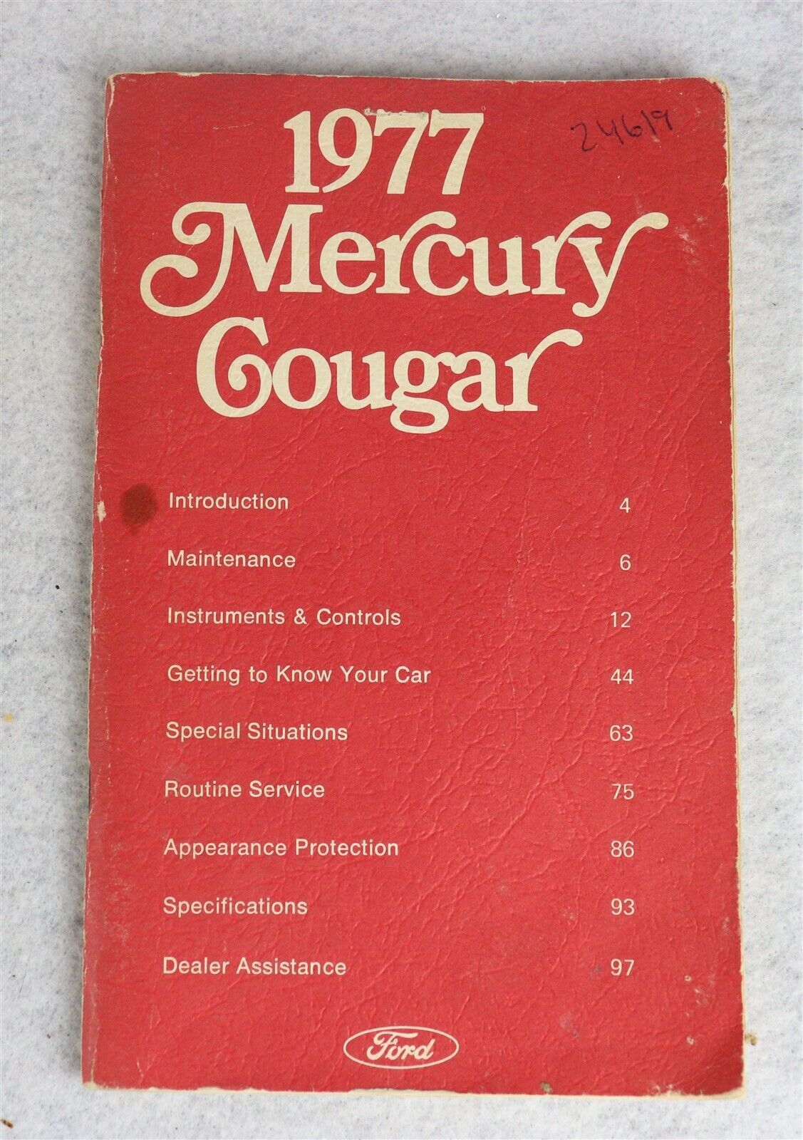 1977 Ford Mercury Cougar Owner's Manual