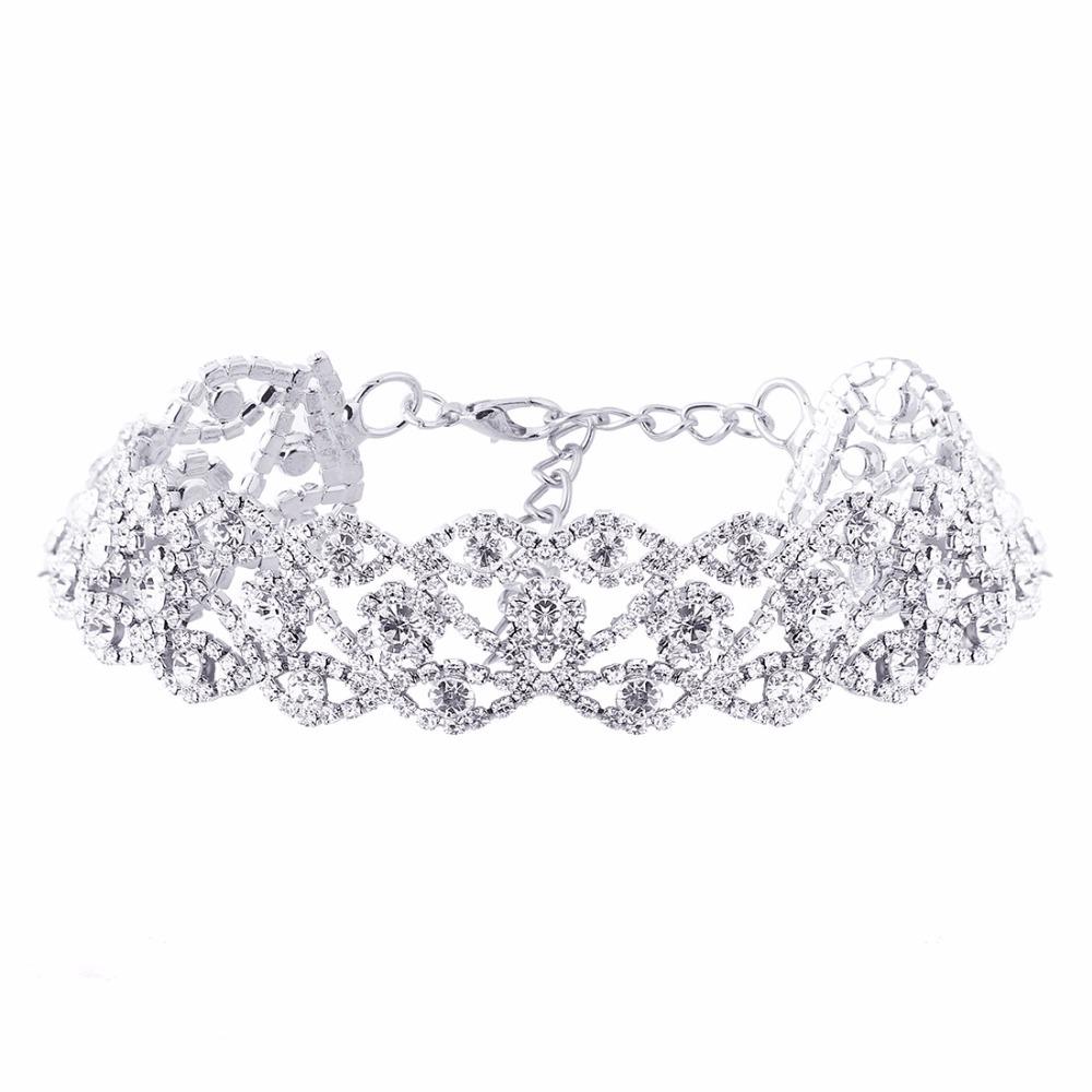 Shiny Rhinestone choker 2017 Maxi Statement necklace Luxury Collar chocker chunk