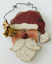 Hand Painted Wood Santa Christmas Ornament with Curly Wire Hanger Signed... - $10.69