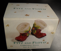 Fitz And Floyd Salt and Pepper Shaker Set 2001 Christmas Santa Holly Boots Boxed - $8.99