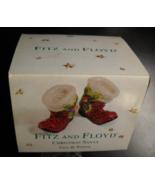 Fitz And Floyd Salt and Pepper Shaker Set 2001 Christmas Santa Holly Boo... - $8.99