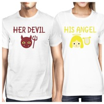 Her Devil His Angel Matching Couple White Shirts - $30.99+
