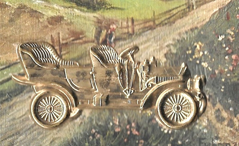 Country Church Scene Vintage Novelty Postcard Gold 3D Antique Auto Car AddOn