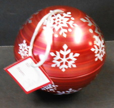 "CHRISTMAS ORNAMENT GIFT METAL TIN OPENS NEW WITH TAG 4"" ROUND RED - $29.70"