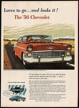 Vintage magazine ad CHEVROLET from 1956 picturing a 2 color Bel Air Sport Sedan - $12.99