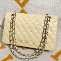 SALE* AUTHENTIC Chanel Quilted Lambskin Classic Medium Beige Double Flap Bag SHW image 3