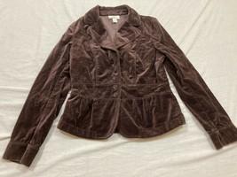 M56 EUC ANN TAYLOR The Loft Brown Soft Fleece Suit Jacket WOMEN'S 12P Pe... - $19.75