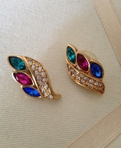 Vintage Gold Tone Crystal Rhinestone Fuschia Blue Green Leaf Fashion Earrings  - $40.00