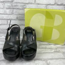 "Gianni Bini Step Out Black Leather Criss Cross Slingback Wood 4.5"" Heel 7M - $19.34"
