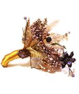 Ivory Gold bridal brooch bouquet, wedding bride 's crystal droplets tear... - $180.00