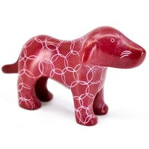 Tabaka Chigware Hand Carved Kisii Soapstone Red Standing Puppy Dog Figure image 1