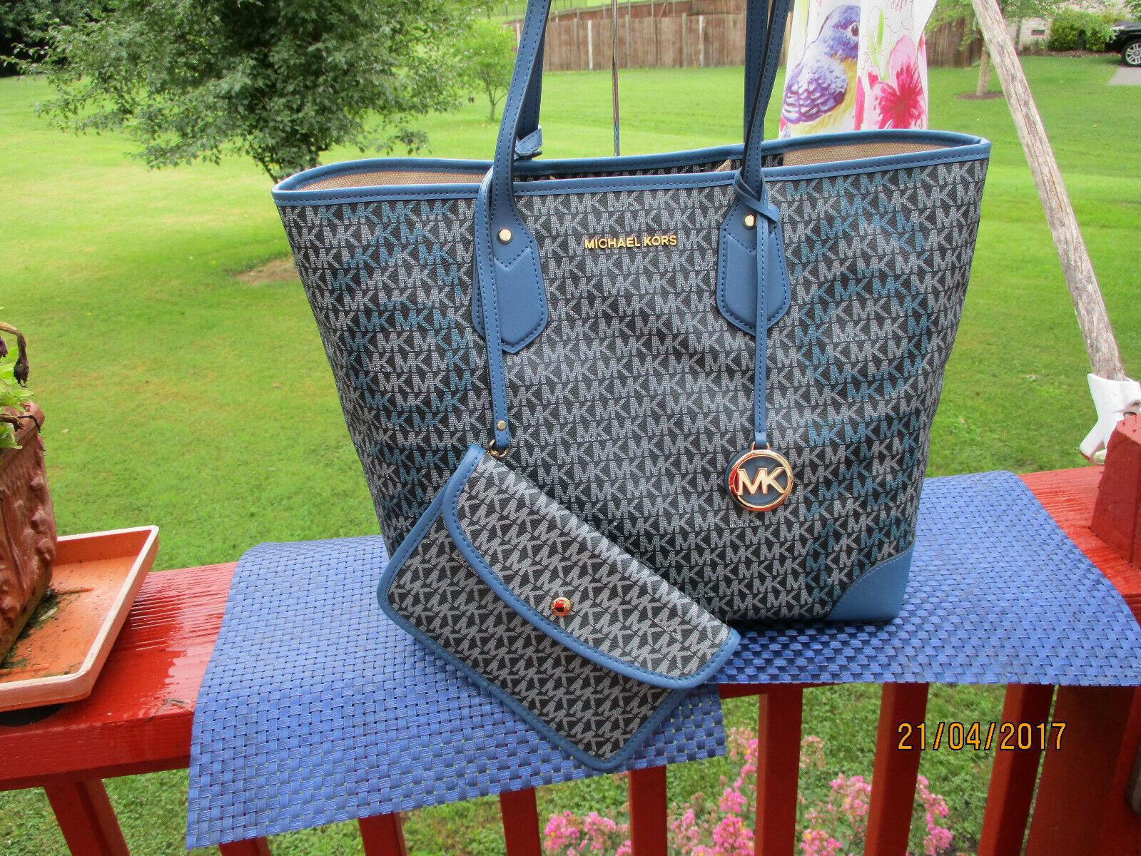 Michael Kors Eva Large Logo Signature Tote Bag Admiral Blues BONUS Pouch NWT