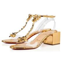 Christian Louboutin Gold Salon De Mars Sandals New - $979.00