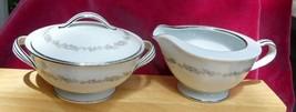 Noritake Crestmont 6013 Sugar Bowl Creamer Pitcher Set Gray - $21.03
