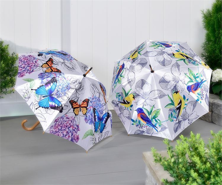 Full Size Classic Satin Umbrella with Wood Handle  - Birds or Butterflies