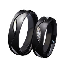 2PCS Black Titanium Stainless Steel Couple Rings Promise Wedding Ring Ba... - $20.99