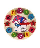 Wooden 12 Number Clock Baby Colorful Puzzle Digital Learning Educational... - $7.50