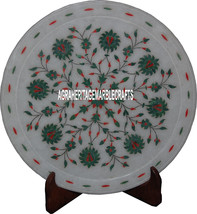 "12"" Marvelous Marble Designer Plate Floral Art Malachite Inlay Decor Table Arts - $168.30"