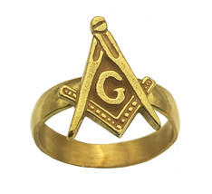 Freemason Symbol 24K Gold Plated Band Ring Free mason Masonic Jewelry Ma... - $28.42