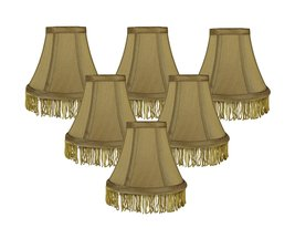 Urbanest Set of 6 Gold with Gold Fringe Silk Bell Chandelier Lamp Shade, 3-inch  - $35.63