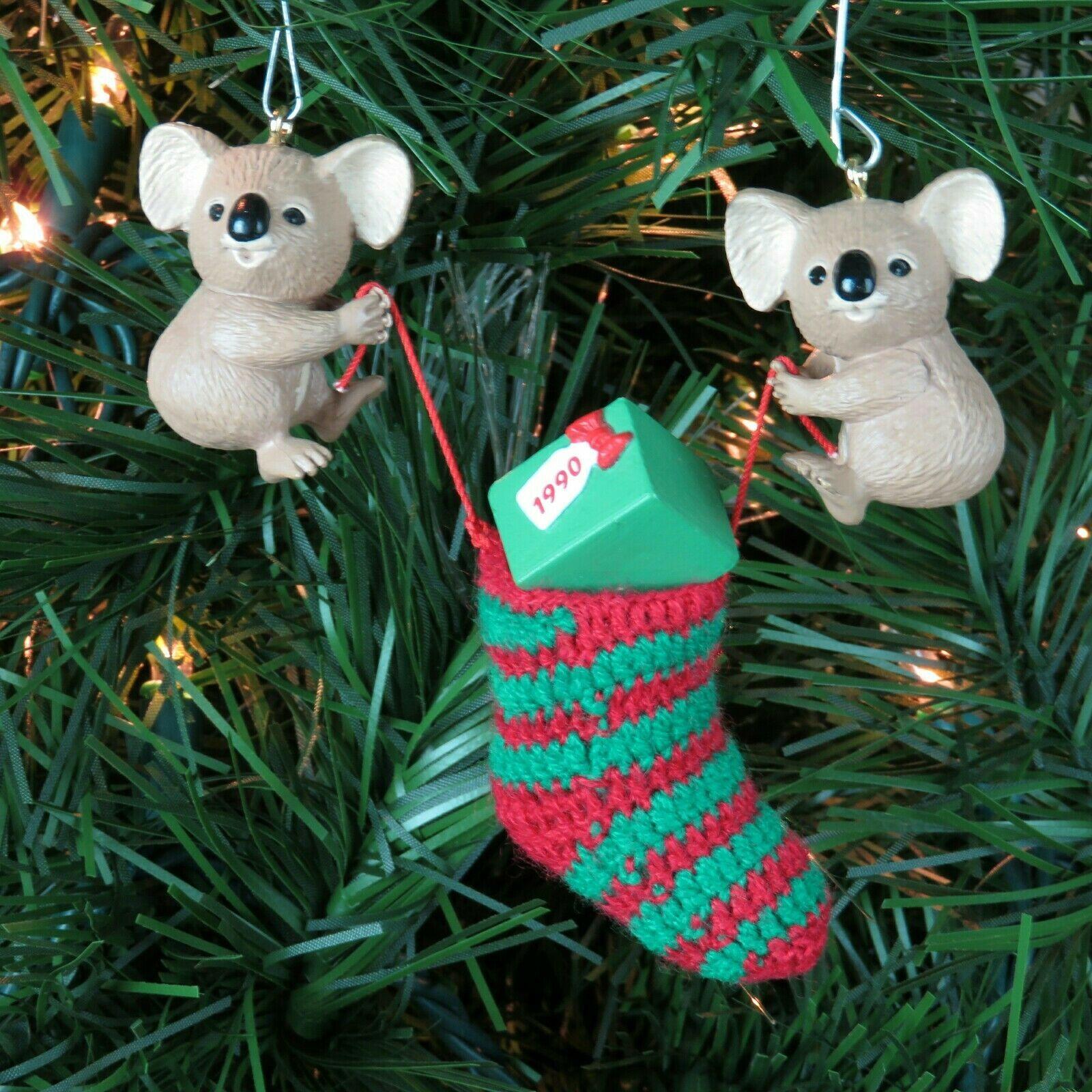 Vintage Koala Christmas Stocking Ornament Hallmark Keepsake 1990