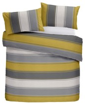CLASSIC WIDE STRIPE GOLD YELLOW GREY COTTON BLEND KING SIZE 6 PIECE BEDD... - $40.34