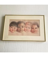 Art Print Baby Faces Signed Framed Diversity Colors Portraits Tomaselli - $19.79