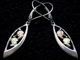 Beautiful 3 Tone Rose & Green Leaf Floral Sterling Silver Drop Earrings*925*D852 - $42.56