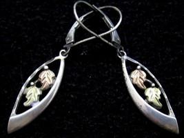 Beautiful 3 Tone Rose & Green Leaf Floral Sterling Silver Drop Earrings*... - $42.56