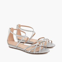 New J.CREW Cary Mini Wedge Sandals in Silver Glitter---Size 7 - $69.99
