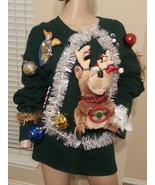 Ugly Tacky Xmas Singing Tinsel 3D Light Up Moving Reindeer Sweater Unisex L - $142.49