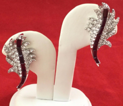 50s Pell Rhodium Plate Ruby Red Baguette & Crystal Rhinestone Clip On Cl... - $39.99