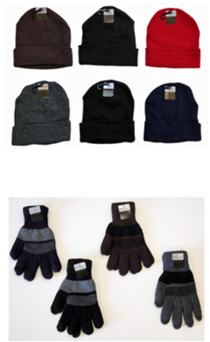 Case of [120] Cuffed Winter Knit Hats & Knit Gloves Combo