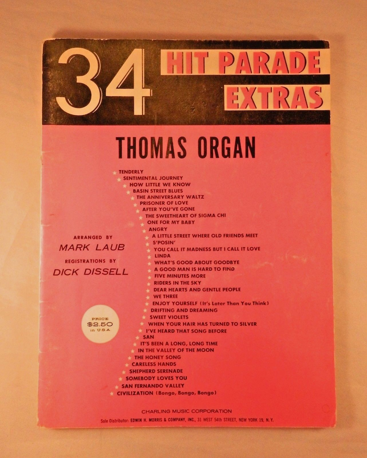 Hit Parade Extras 34 Songs for Thomas Organ Music Book Vintage 1963 1st Printing