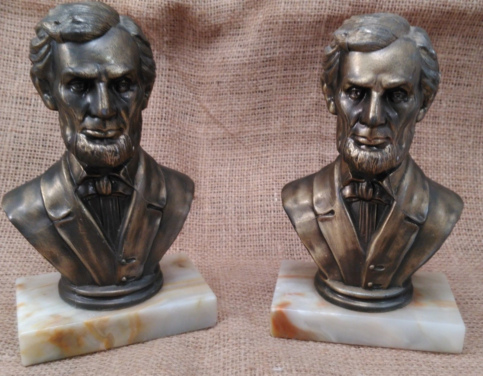 """7"""" ABRAHAM LINCOLN HEAD BUST BRONZE BOOKENDS MARBLE BASE VINTAGE PRESIDENT"""
