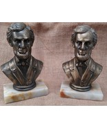 "7"" ABRAHAM LINCOLN HEAD BUST BRONZE BOOKENDS MARBLE BASE VINTAGE PRESIDENT - $34.64"