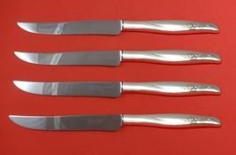 Sea Rose by Gorham Sterling Silver Steak Knife Set 4pc Large Texas Sized Custom - $247.10