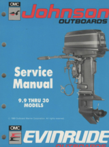 1990 johnson outboard 9.9 hp 30hp models service shop repair manual p/n - $39.55