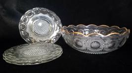 Antique U.S. Glass Manhattan Clear Berry Serving Bowl w/ 3 Plates (c. 19... - $40.50