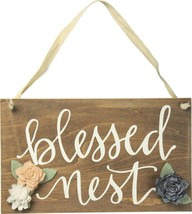Primitives by Kathy Wooden Hanging Hand Lettered Sign Blessed Nest - $16.07