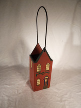 Wooden Wine Carrier Box w Wire Handle Christmas Theme Single Bottle Holder - $13.05 CAD