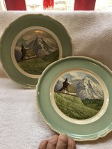 "Rosenthal Kapelle Bei Arosa 2 Plates- 9 1/2""-beautiful Mountains Germany - $20.00"