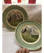 "Rosenthal Kapelle Bei Arosa 2 Plates- 9 1/2""-beautiful Mountains Germany - $20.00"