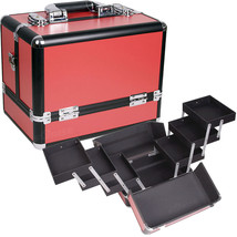 RED 3-TIERS ACCORDION TRAYS MAKEUP COSMETIC CASE - C3002 - $52.99